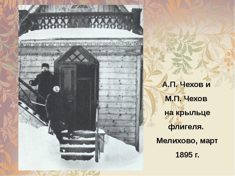 А.П. Чехов и М.П. Чехов на крыльце флигеля. Мелихово, март 1895 г.
