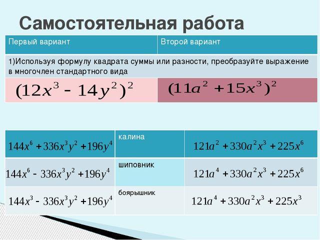 Самостоятельная работа Первый вариант Второй вариант 1)Используяформулу квадр...