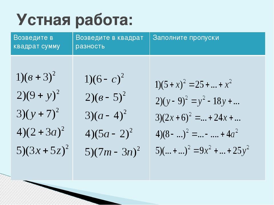 Устная работа: Возведите в квадрат сумму Возведите в квадрат разность Заполни...