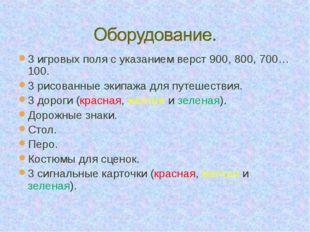 3 игровых поля с указанием верст 900, 800, 700…100. 3 рисованные экипажа для