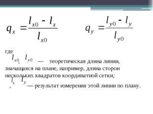 где , — теоретическая длина линии, значащаяся на плане, например, длина стор