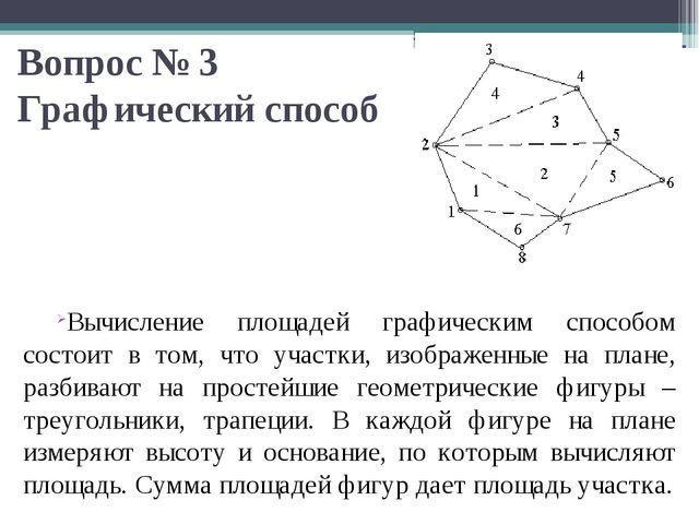 Вопрос № 3 Графический способ Вычисление площадей графическим способом состои...