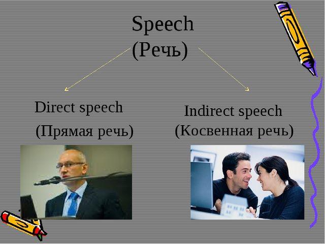 Speech (Речь) Direct speech (Прямая речь) Indirect speech (Косвенная речь)