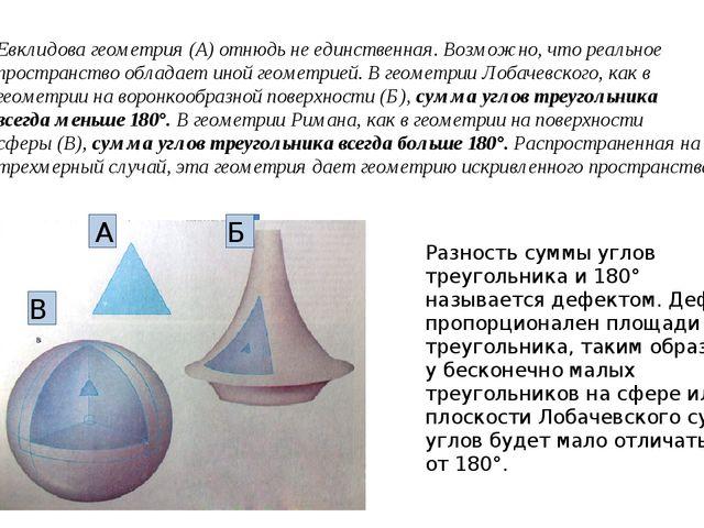 Евклидова геометрия (А) отнюдь не единственная. Возможно, что реальное простр...