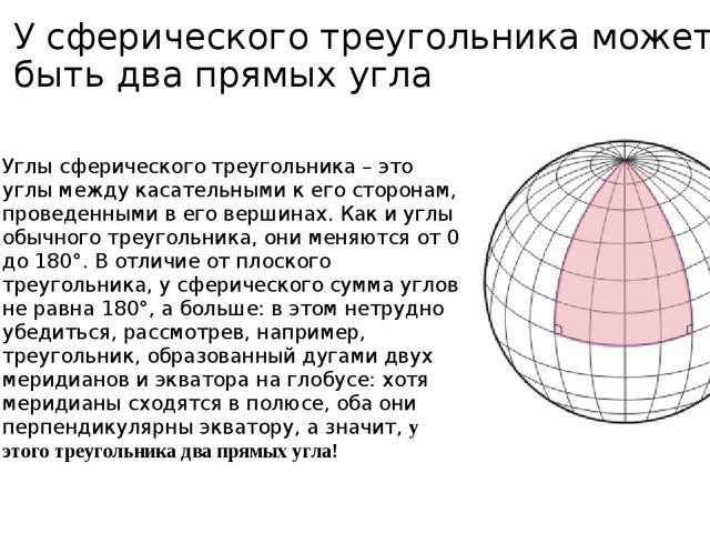 У сферического треугольника может быть два прямых угла Углы сферического треу...