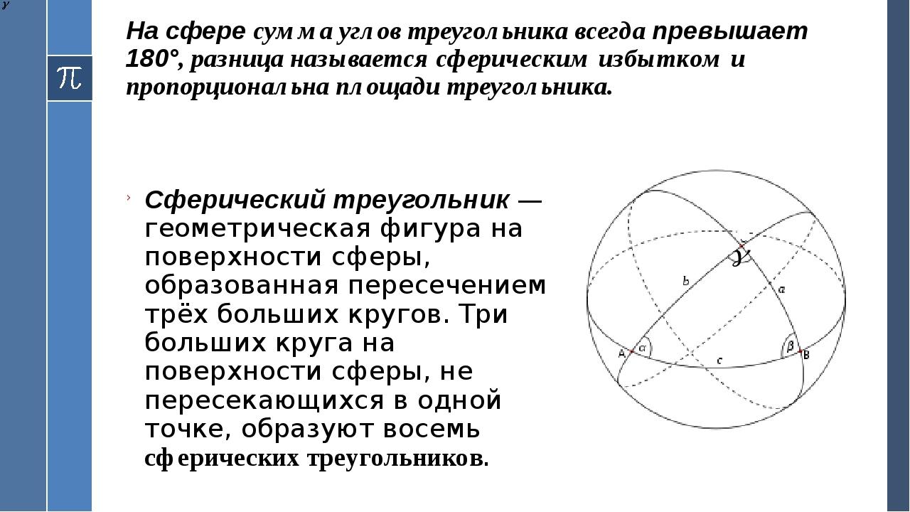 На сфере сумма углов треугольника всегда превышает 180°, разница называется с...