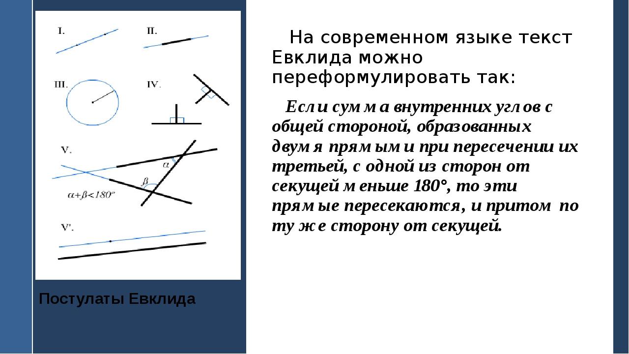 Постулаты Евклида На современном языке текст Евклида можно переформулировать...