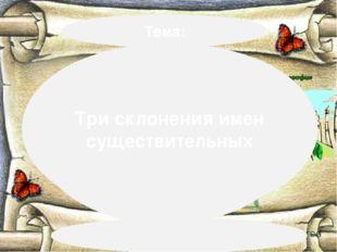 Тема: «Три склонения имен существитель ных» Три склонения имен существительных