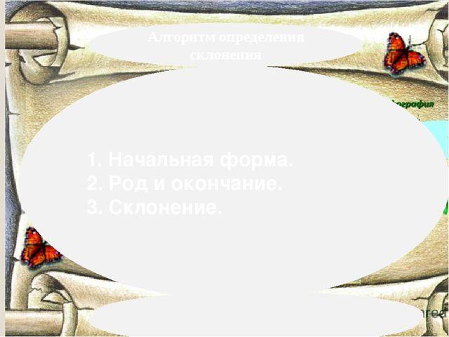 Алгоритм определения склонения 1. Начальная форма. 2. Род и окончание. 3. Ск...