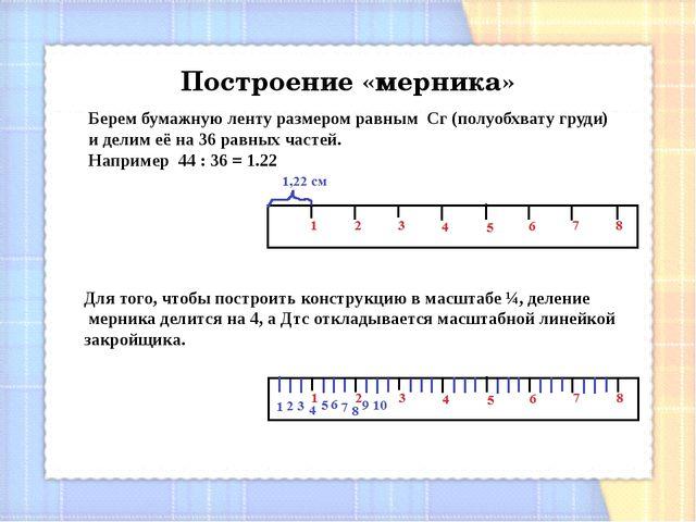 Построение «мерника» Берем бумажную ленту размером равным Сг(полуобхвату гр...
