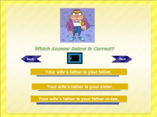 Try Again Try Again Great Job! Your wife's father is your father-in-law. Your