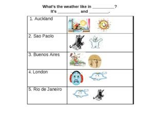 What's the weather like in __________? It's __________ and _________. 1. Auck