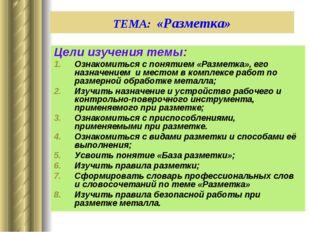 ТЕМА: «Разметка» Цели изучения темы: Ознакомиться с понятием «Разметка», его