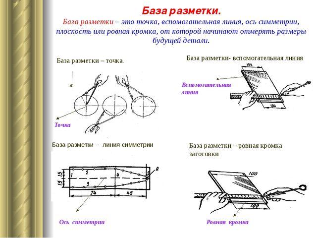 База разметки. База разметки – это точка, вспомогательная линия, ось симметри...