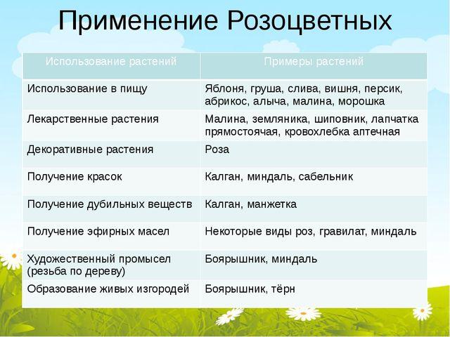 Применение Розоцветных Использование растений Примеры растений Использование...