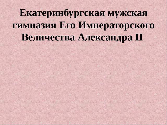 Екатеринбургская мужская гимназия Его Императорского Величества Александра II