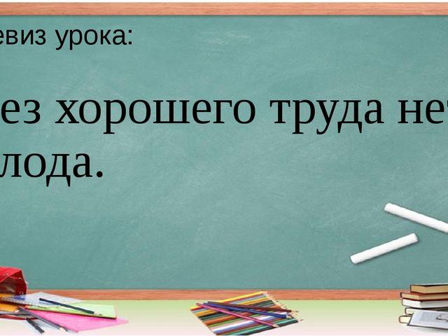 Девиз урока: Без хорошего труда нет плода.