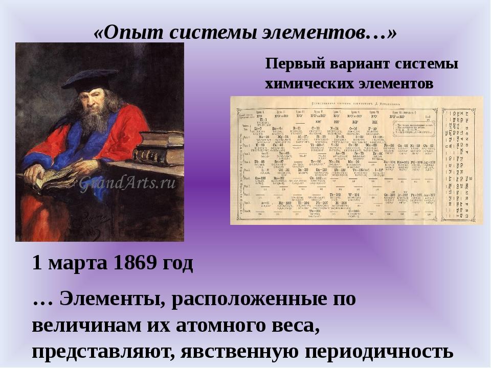 «Опыт системы элементов…» 1 марта 1869 год … Элементы, расположенные по велич...