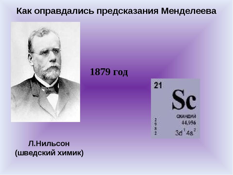 Как оправдались предсказания Менделеева Л.Нильсон (шведский химик) 1879 год