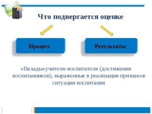 Что подвергается оценке «Вклады»учителя-воспитателя (достижения воспитанников