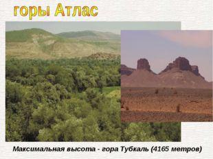 Максимальная высота - гора Тубкаль (4165 метров)