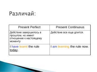 Present PerfectPresent Continuous Действие завершилось в прошлом, но имеет о
