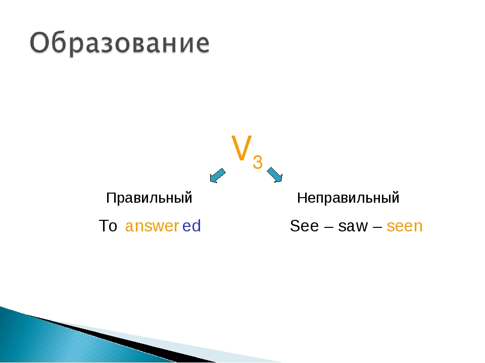 V3 Правильный Неправильный To answer ed See – saw – seen