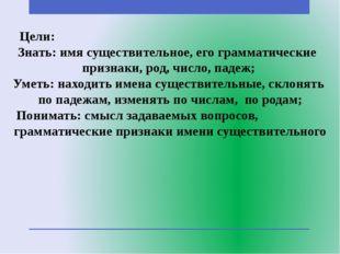 Цели: Знать: имя существительное, его грамматические признаки, род, число, па