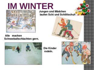 IM WINTER Die Kinder rodeln. Jungen und Mädchen laufen Schi und Schlittschuh.