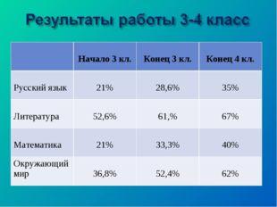 Начало 3 кл. Конец 3 кл. Конец 4 кл. Русский язык 21% 28,6% 35% Литера