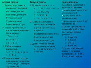 Первый уровень 1. Запиши выражения и вычисли их значения. по 9 взять два раз