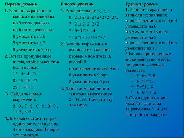 Первый уровень 1. Запиши выражения и вычисли их значения. по 9 взять два раз...
