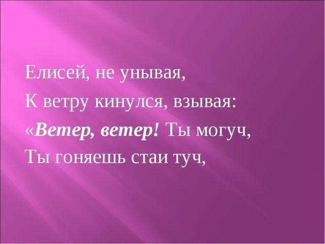 Елисей, не унывая, К ветру кинулся, взывая: «Ветер, ветер! Ты могуч, Ты гоняе...