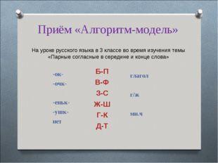 Приём «Алгоритм-модель» На уроке русского языка в 3 классе во время изучения
