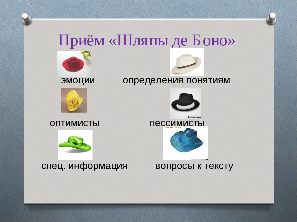 Приём «Шляпы де Боно» эмоции определения понятиям оптимисты пессимисты спец....
