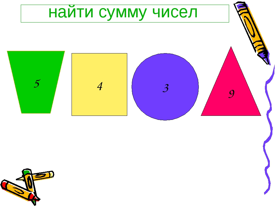 найти сумму чисел 9 4 3 5