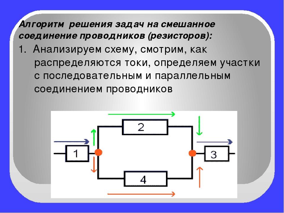 Алгоритм решения задач на смешанное соединение проводников (резисторов): 1....