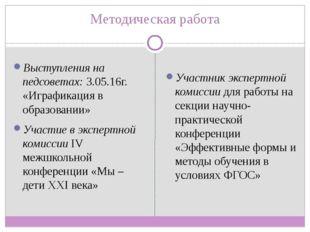 Методическая работа Выступления на педсоветах: 3.05.16г. «Играфикация в образ