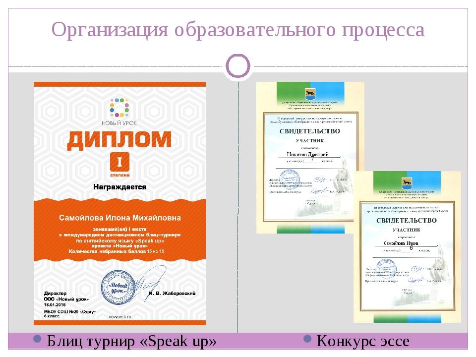 Организация образовательного процесса Блиц турнир «Speak up» Конкурс эссе Ник...
