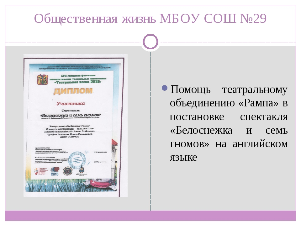 Общественная жизнь МБОУ СОШ №29 Помощь театральному объединению «Рампа» в пос...