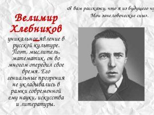 уникальное явление в русской культуре. Поэт, мыслитель, математик, он во мног