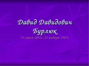 Давид Давидович Бурлюк 22 июня 1882г.-15 января 1967г