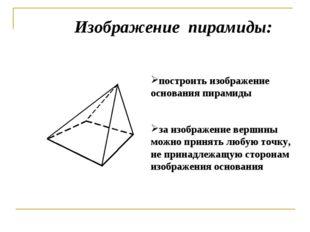 построить изображение основания пирамиды Изображение пирамиды: за изображение