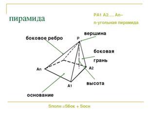 пирамида основание боковая грань высота боковое ребро вершина Sполн =Sбок + S