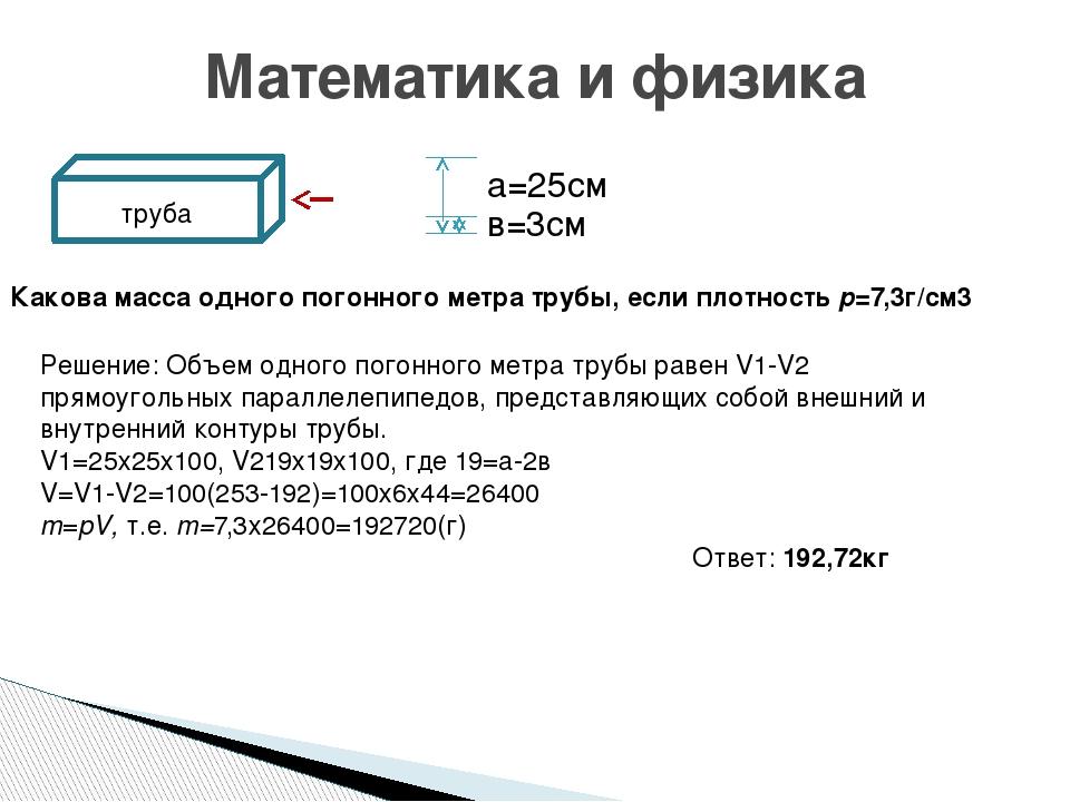 Математика и физика а=25см в=3см труба Какова масса одного погонного метра тр...