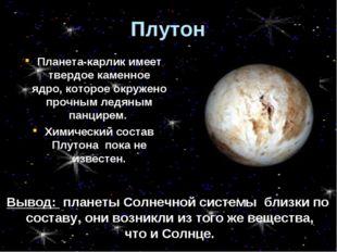 Плутон Планета-карлик имеет твердое каменное ядро, которое окружено прочным л