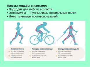 Плюсы ходьбы с палками: • Подходит для любого возраста • Экономична — нужны л