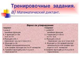 Тренировочные задания. а) Математический диктант. Верно ли утверждение: I вар
