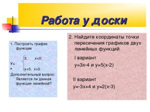 Работа у доски 1. Построить график функции 3, х0. Дополнительный вопрос: Явл