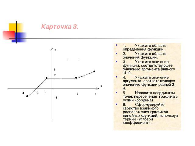 Карточка 3. 1.Укажите область определения функции. 2.Укажите область значен...